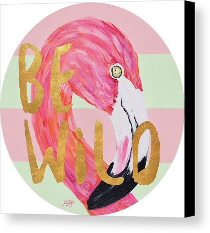 """Flamingo On Stripes"" Round Canvas Print (Multiple Sizes) - INspira Collection"