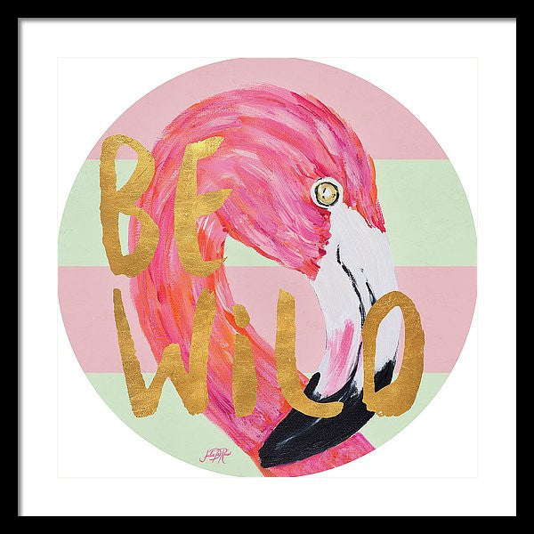 """Flamingo On Stripes"" Round Framed Print (Multiple Sizes) - INspira Collection"