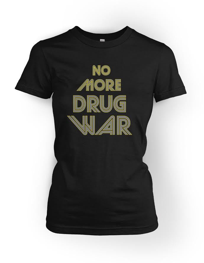 No More Drug War Fitted High-Scoop Neck Shirt
