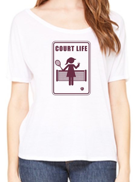 Court Life™ Wine - Women's Flowy Tee