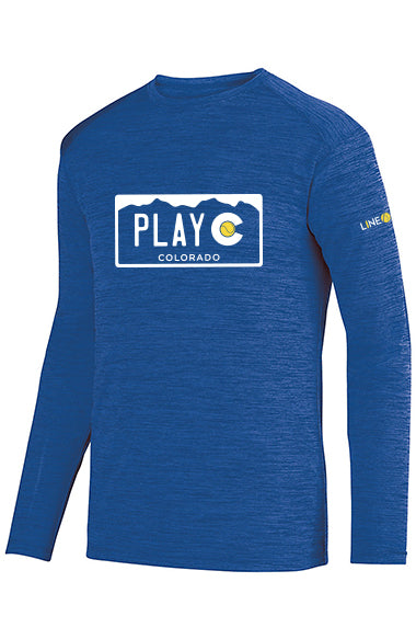 PLAY CO MEN'S LONG SLEEVE PERFORMANCE TEE - USTA CO LOGO WEAR