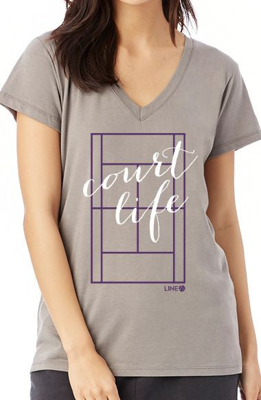 Court Life™ Script - Women's V-Neck Tee