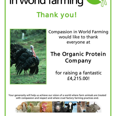 Hurrah! Another £1787.50 donated to Compassion in World Farming (running total now over £4200!)