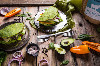 Spinach & Whey Protein Pancake Sandwiches (Panwiches)