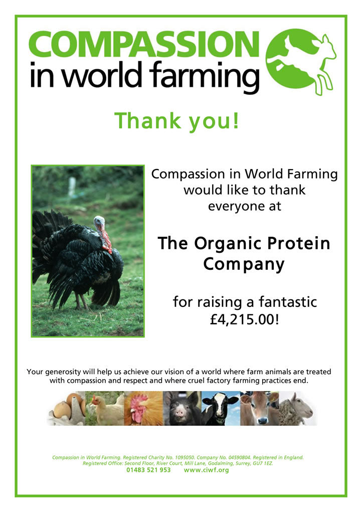 Another £4200 donated to Compassion in World Farming