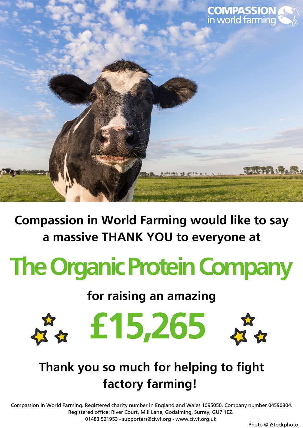 Compassion in World Farming Thank You Certificate
