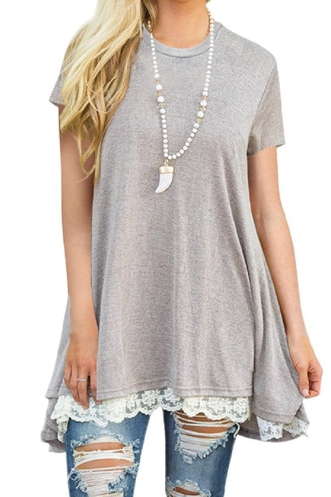 Asher & Emery - Grey Long Lace Trim Top