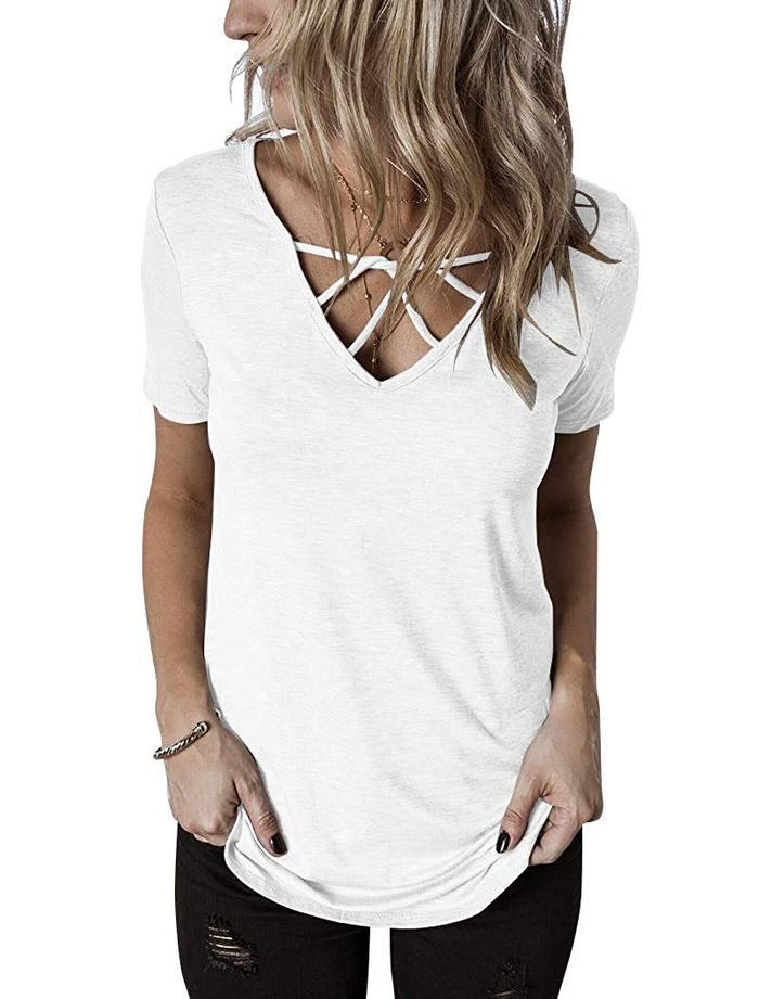 Asher & Emery - White Short Sleeve Criss Cross V-neck Tee