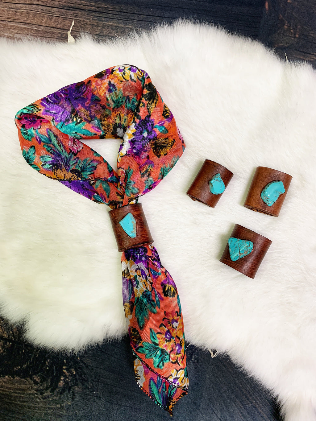 Turquoise Over Tacos Neck Tie Slides