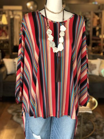 Western Striped Hi-Lo Top