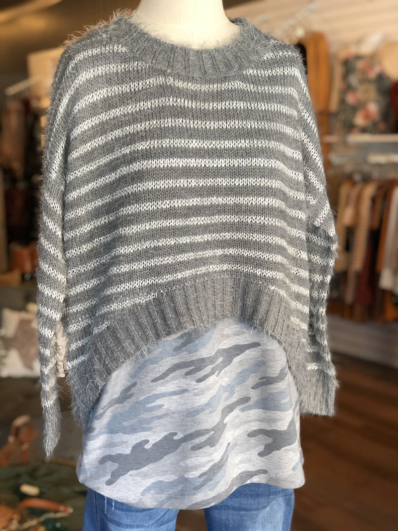 Gray & Silver Striped Crop Top Sweater