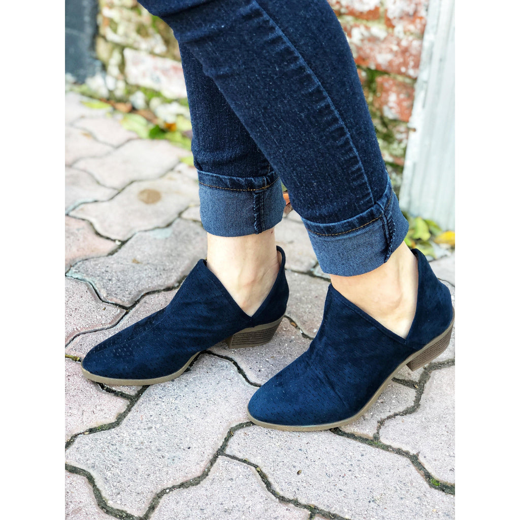Navy Suede Cut-Out Booties