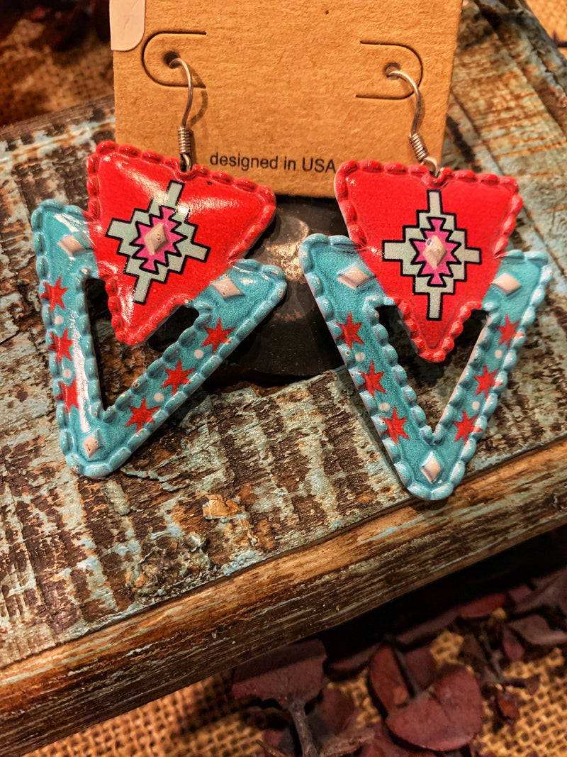 Turquoise & Coral Native Triangle Earrings