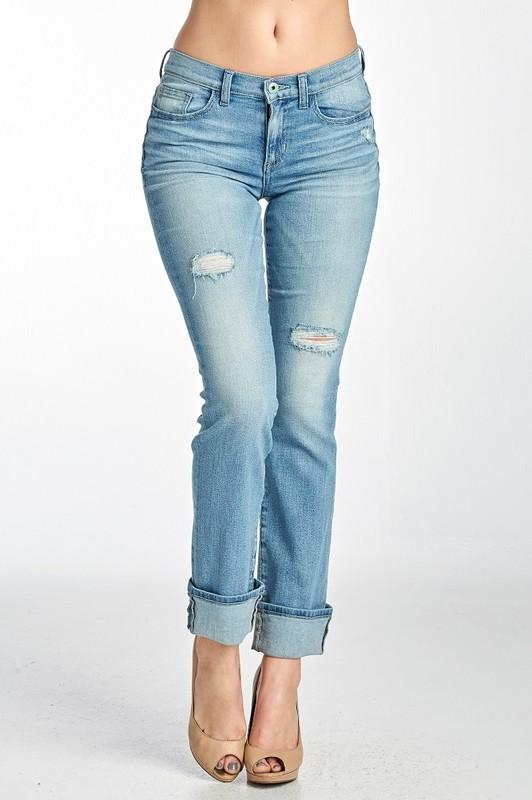 Lightly Distressed Mid Rise Straight Leg Jeans