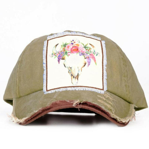 Floral Bull Skull Patch Distressed Hat