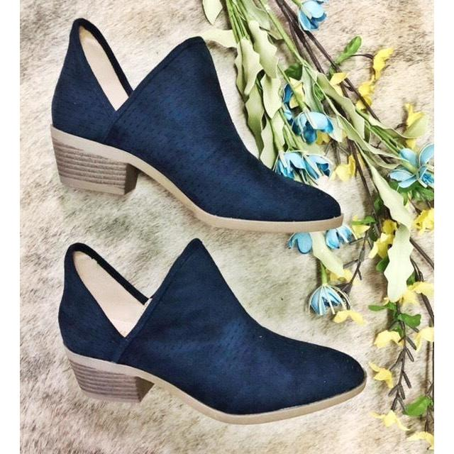 How cute are these blue suede booties?! They go with everything!