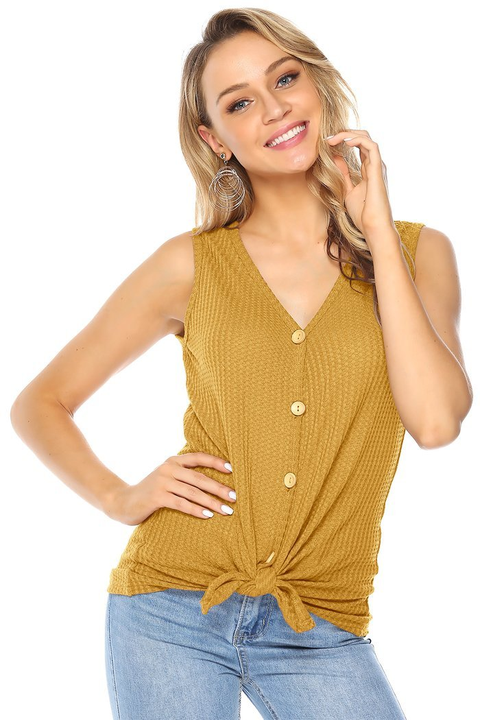 Asher & Emery - Yellow Henley Button Down Tank