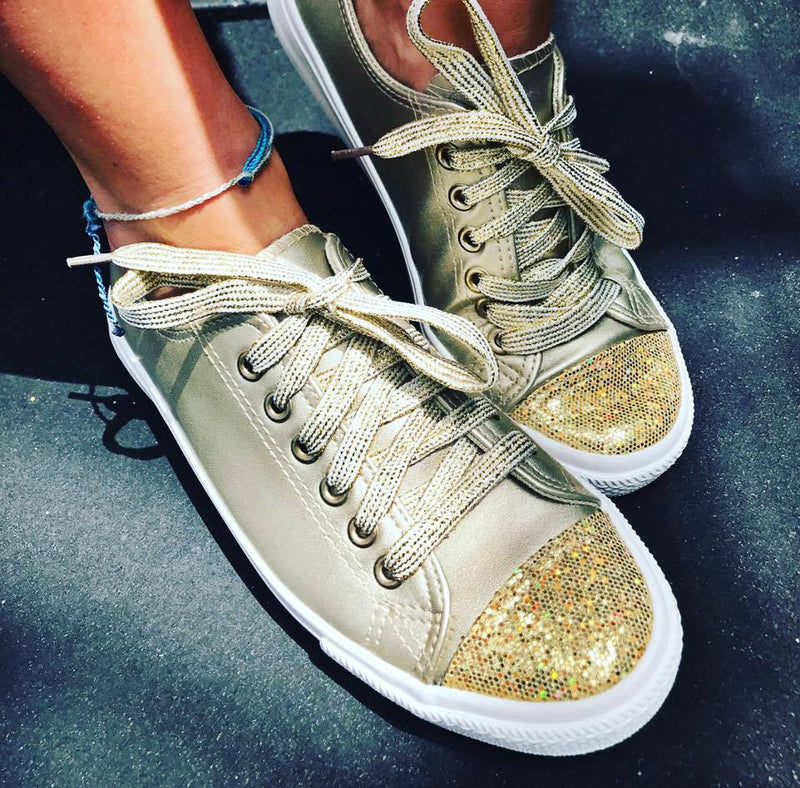Glitter in Gold Sneakers