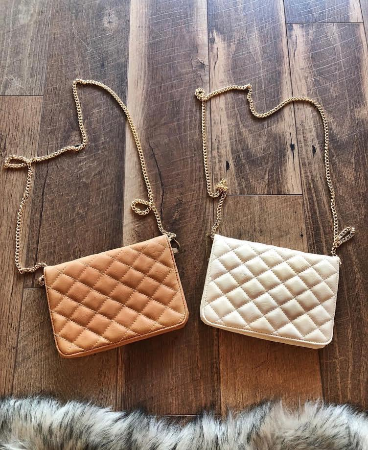 Camel Quilted Crossbody