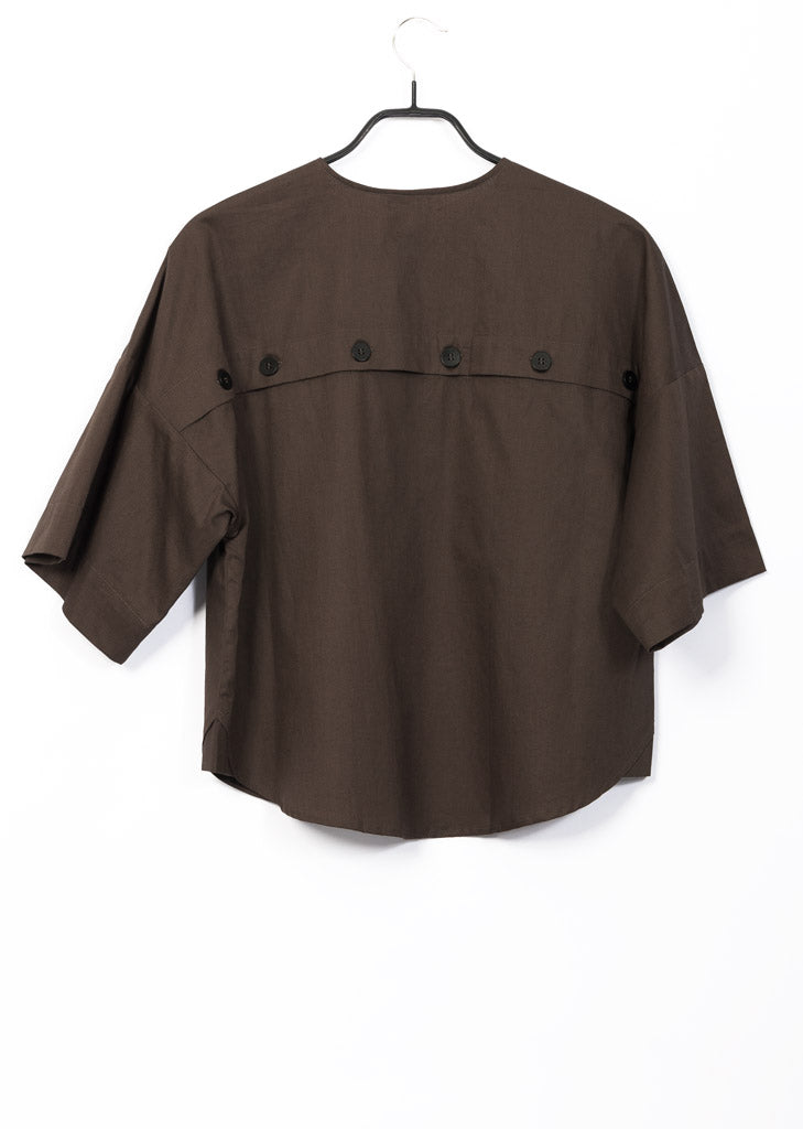 brown gots organic cotton open back top