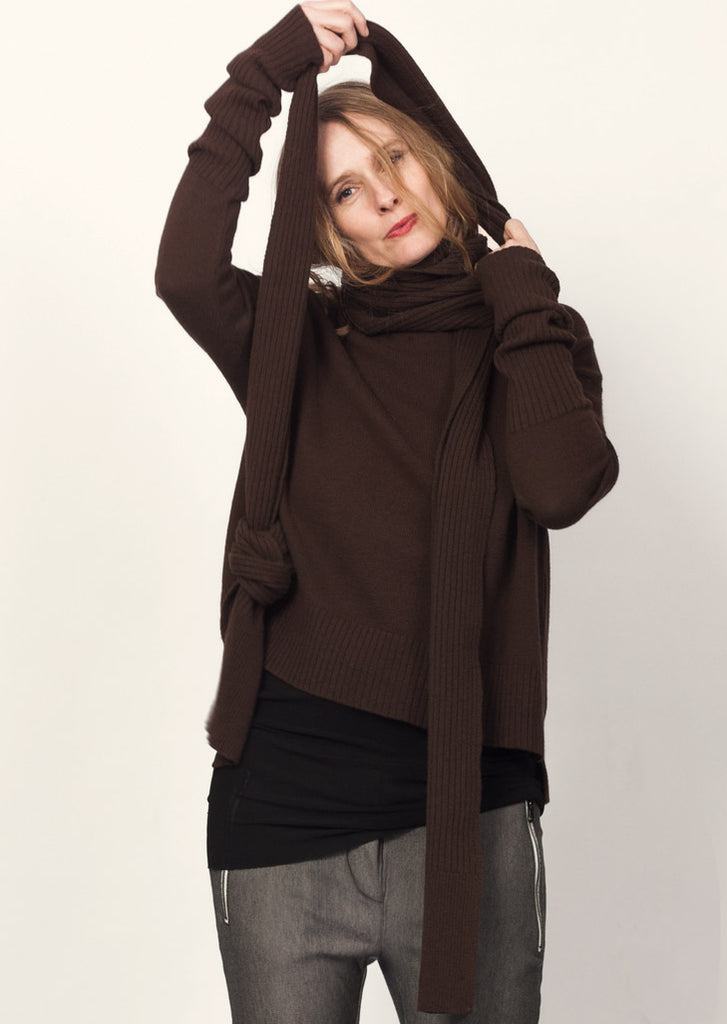 GOTS certified organic extrafine merino brown wool scarf