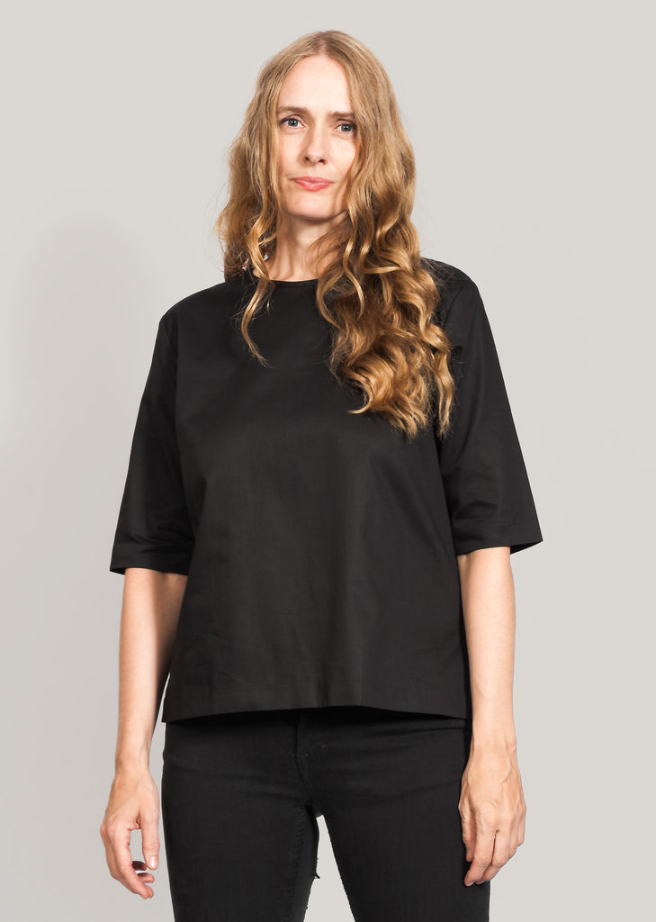 Black GOTS certified organic cotton blouse