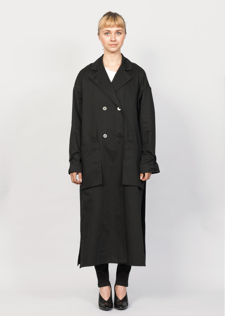 Eksempel black GOTS organic cotton trench coat