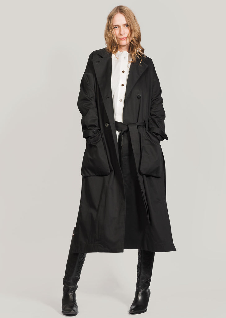 034140b7 Eksempel black GOTS organic cotton trench coat