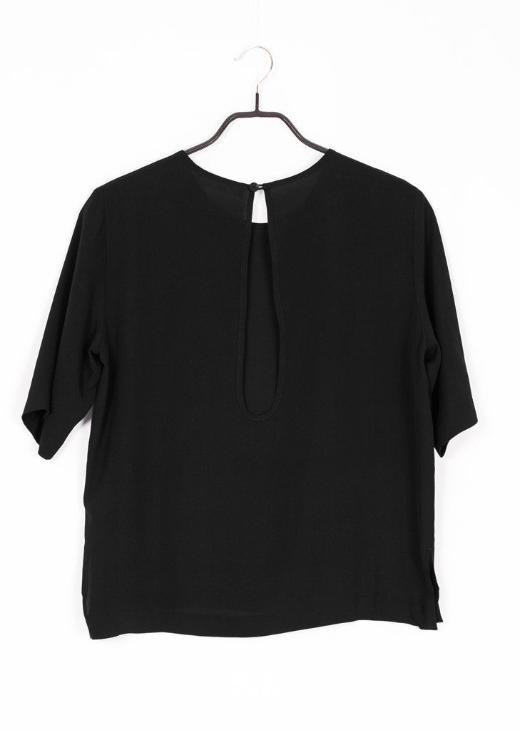 Black organic silk blouse