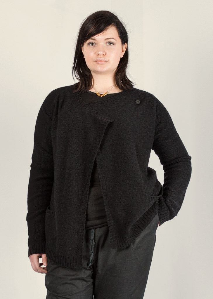 Black cardigan in recycled wool