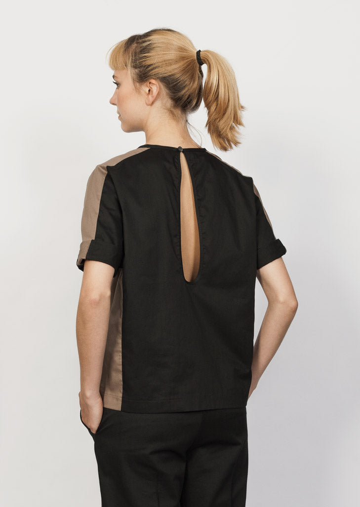 GOTS organic cotton blouse with rain drop open back