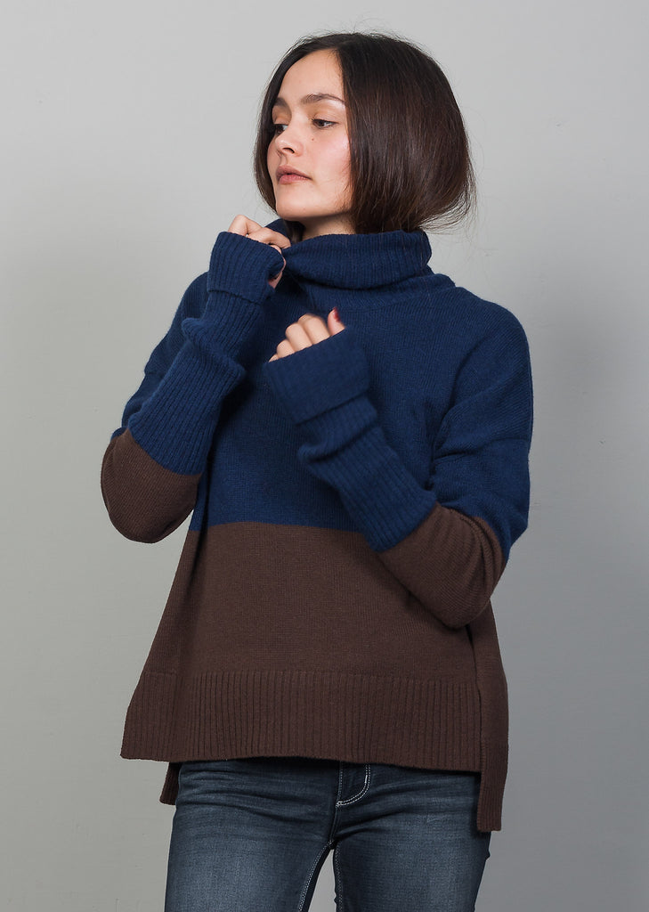 GOTS certified organic extrafine merino blue-brown wool sweater