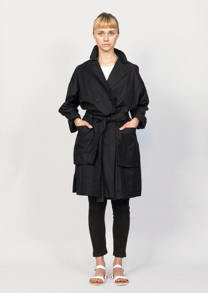 Blue organic cotton trench coat