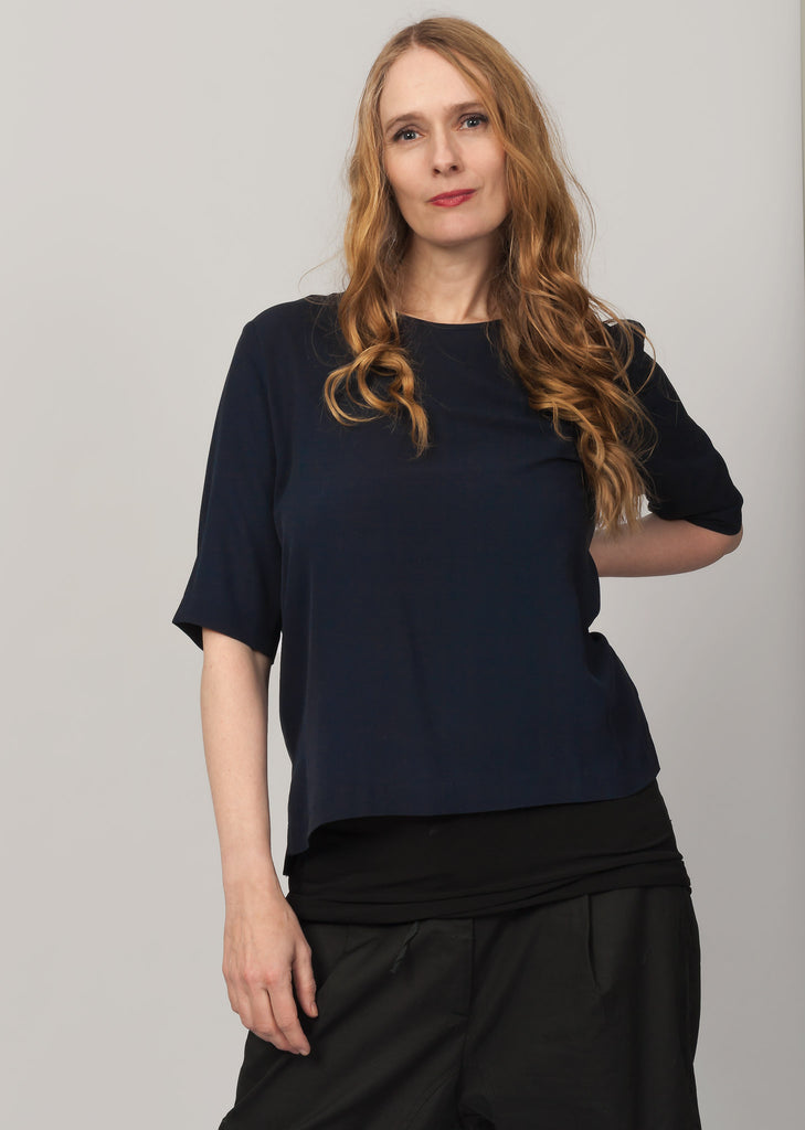 Navy organic silk blouse
