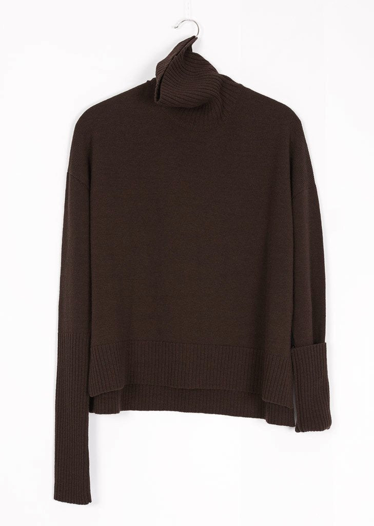 GOTS certified organic extrafine merino brown wool sweater