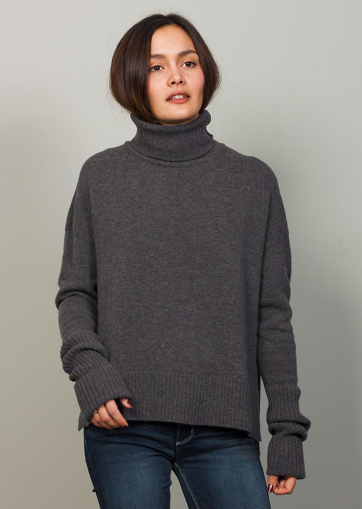 GOTS certified organic extrafine merino Grey Melange wool sweater