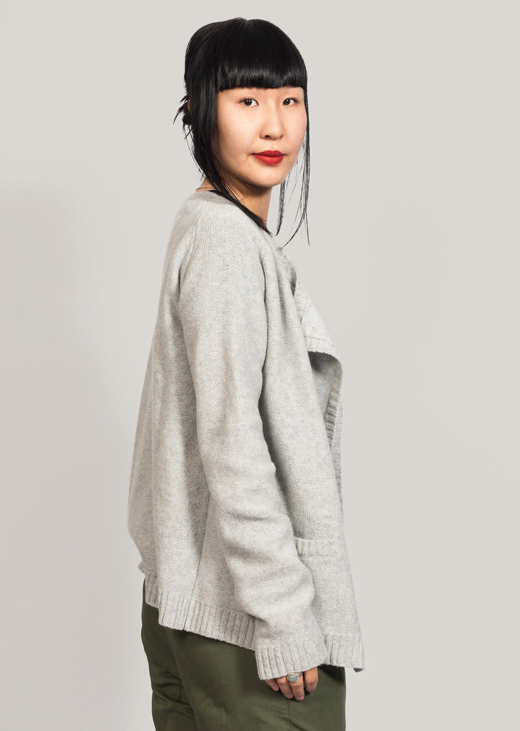 Light grey cardigan in recycled wool