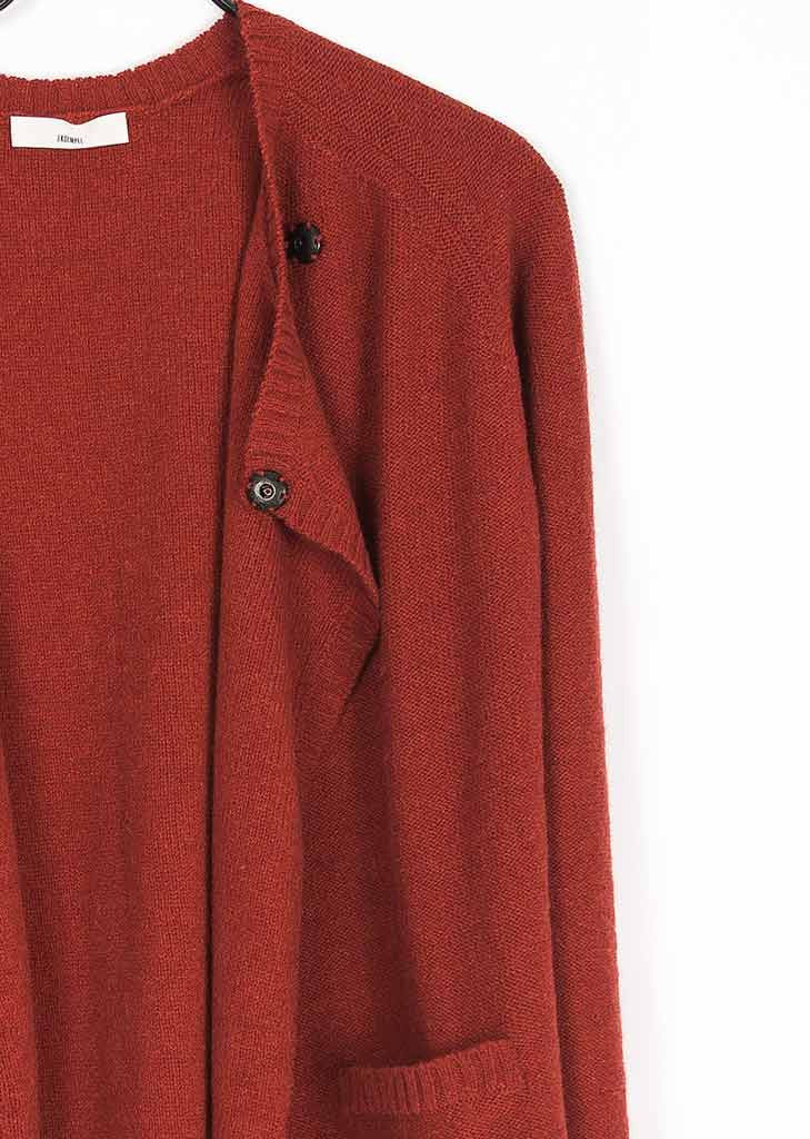 Laque red cardigan in recycled wool