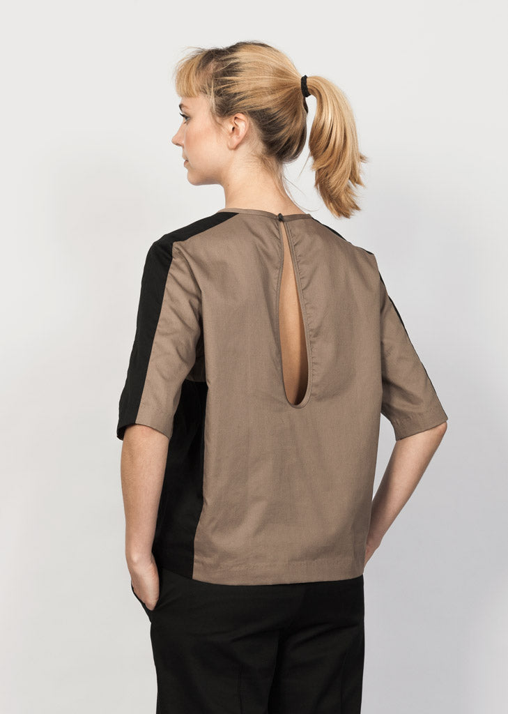 GOTS organic cotton blouse with rain drop back