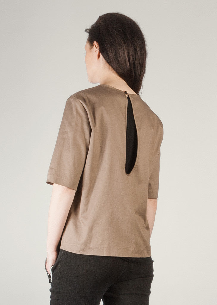Tan GOTS certified organic cotton blouse