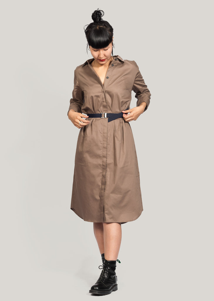 Tan GOTS certified organic cotton dress