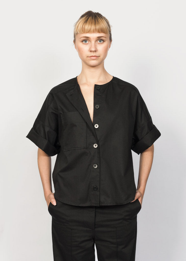 organic cotton top with corozo buttons