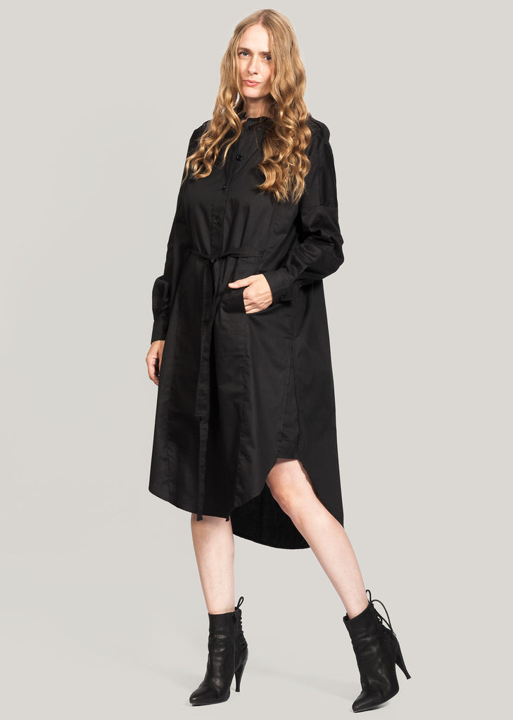 GOTS certified organic cotton shirt dress black
