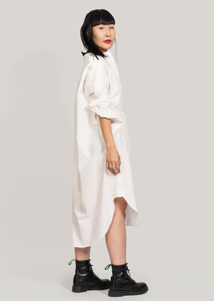 GOTS certified organic cotton shirt dress white