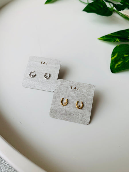 Tai Horseshoe CZ Stud Earrings $28
