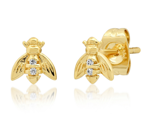 Tai Gold Bee Studs with CZ $40