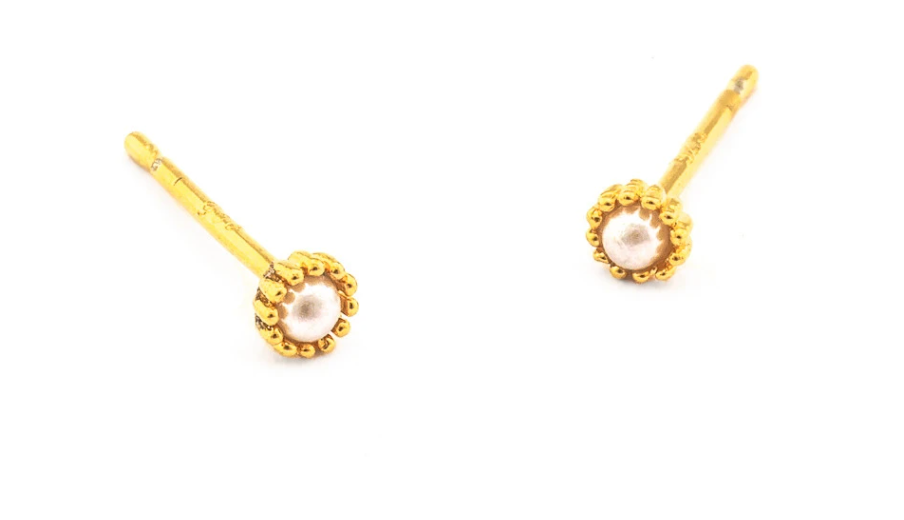 Tai Mini Gold Pearl Studs $30