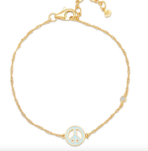 Tai Enamel Peace Sign Bracelet $35
