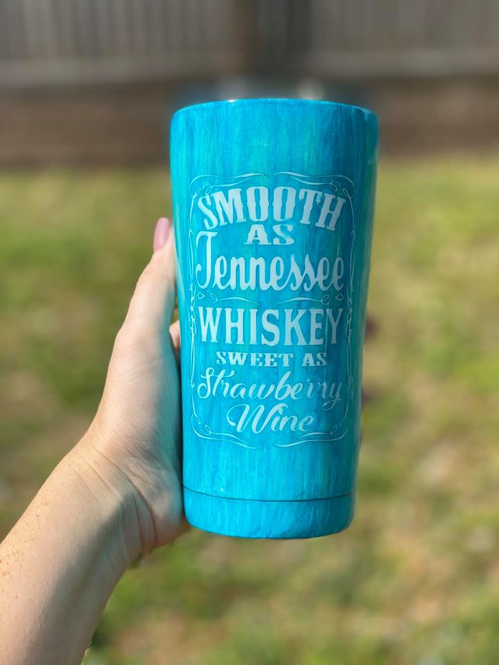 Teal Tennessee Whiskey Stainless Steel Wood Grain Tumbler