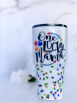 Autism One Lucky Mama Tumbler